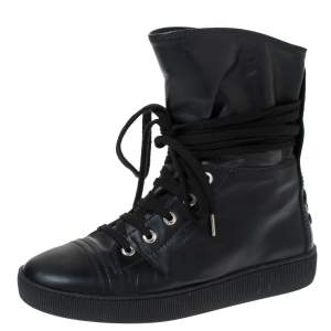 Chanel Black Leather CC Boots Size 35.5