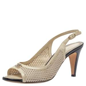 Chanel White Lazer Cut Leather CC Open Toe Slingback Sandals Size 37.5