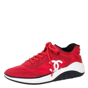 Chanel Red Fabric CC Lace Up Sneakers Size 37