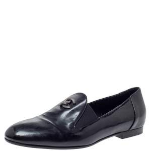 Chanel Black Leather CC Slip On Loafers Size 35.5