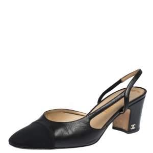 Chanel Black Leather Block Heel Slingback Sandals Size 39