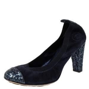 Chanel Blue Suede And Caorse Glitter Cap Toe Scrunch Pumps Size 38
