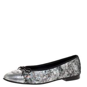 Chanel Metallic Silver Textured Suede CC Cap Toe Bow Ballet Flats Size 39.5