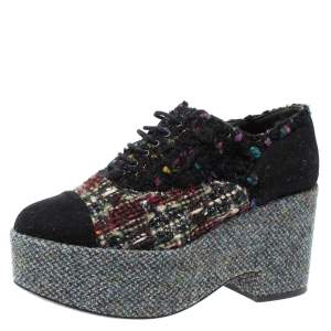 Chanel Multicolor Tweed And Felt Lace Up Platform Sneaker 38.5