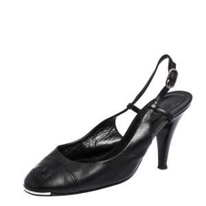 Chanel Black Leather CC Cap Toe Slingback Sandals Size 39