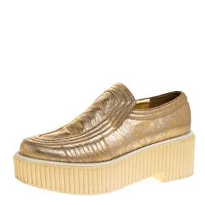 Chanel Gold Leather Creepers Slip on Platform Sneakers Size 39.5