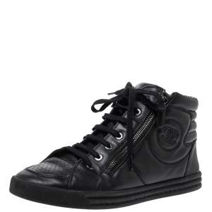 Chanel Black Leather Double Zip CC High Top Sneakers Size 40