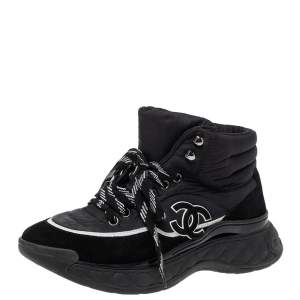 Chanel Black Nylon And Suede High Top Lace Up Sneakers Size 36