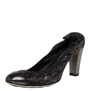 Chanel Metallic Silver/Black Textured Leather Cap Toe Scrunch Pumps Size 37