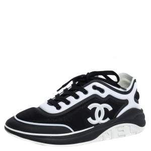 Chanel Black/White Fabric CC Lace Up Sneakers Size 40.5