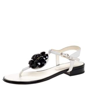 Chanel White Leather And Black Patent Camellia Thong Ankle Strap Sandals Size 36.5