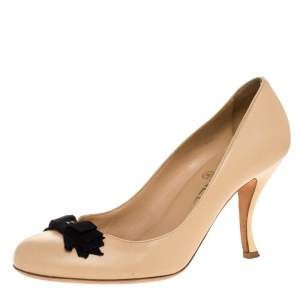 Chanel Beige Leather CC Bow Pumps Size 39.5