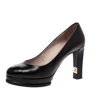 Chanel Black Leather CC Block Heel Platform Pumps Size 40