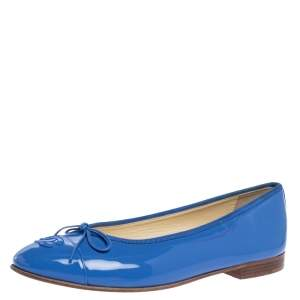 Chanel Blue Patent Leather CC Bow Ballet Flats Size 39.5