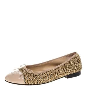 Chanel Beige/Gold Tweed Fabric And Leather CC Cap Toe Bow Ballet Flats Size 39.5