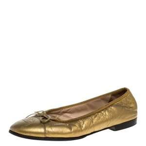 Chanel Metallic Gold Crinkled Leather CC Bow Cap Toe Ballet Flats Size 39