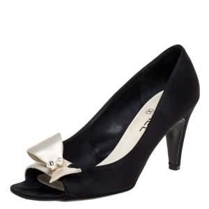 Chanel Black Satin Pearl Embellished Bow Peep Toe Pumps Size 38.5