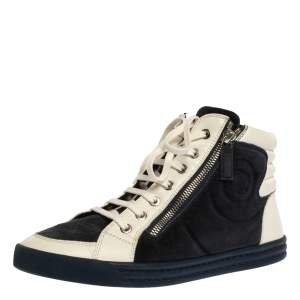 Chanel Blue/White Suede Leather CC Double Zip High Top Sneakers Size 39.5