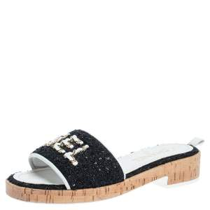 Chanel Black/White Fabric and Sequin Chain Embellished Cork Slide Sandals Size 38