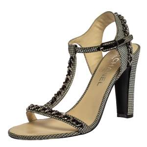 Chanel Black/White Checkered Leather Chain Link Ankle Strap Sandals Size 38.5