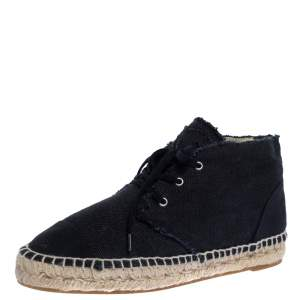 Chanel Navy Blue Canvas Cap Toe High Top Espadrille Flats Size 38