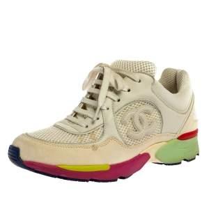 حذاء رياضي شانيل منخفض من الأعلى سي سي شبك وجلد متعدد الألوان مقاس 36.5