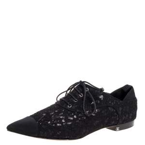 Chanel Black Floral Lace Cap Toe Lace Up Oxfords Size 41