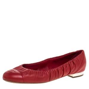 Chanel Red Leather CC Scrunch CC Cap Toe Ballet Flats Size 41