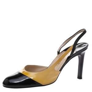Chanel Beige/Black Patent Leather Cap Toe Slingback Sandals Size 38
