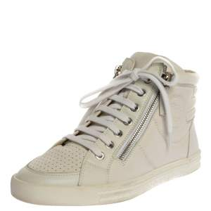 Chanel White Leather CC High Top Sneakers Size 36