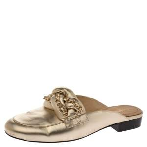 Chanel Metallic Gold Leather Chain Detail CC Flat Mules Size 39