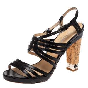 Chanel Black Leather Cork Chain Embellished Heels Strappy Sandals Size 38.5
