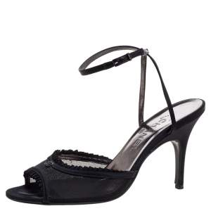 Chanel Black Mesh And Satin CC Open Toe Ankle Wrap Sandals Size 40