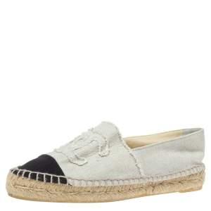 Chanel White/Black Canvas CC Cap Toe Espadrille Flats Size 39