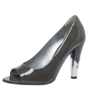 Chanel Dark Grey Patent Leather CC Open Toe Pumps Size 39