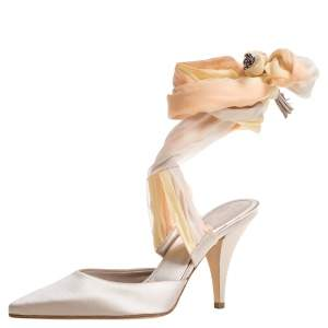 Chanel Ivory Satin And Pastel Ombre Chiffon Ankle Wrap Pointed Toe Sandals Size 38