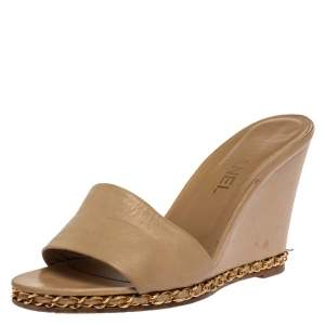 Chanel Beige Leather Chain Me Wedge Slide Sandals Size 39