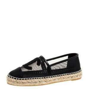 Chanel Black Mesh CC Cap Toe Espadrille Flats Size 36