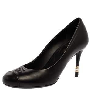 حذاء كعب عالي شانيل CC جلد أسود مقدمة مستديرة مقاس 37