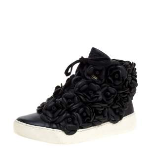 Chanel Black CC Camellia Leather High Top Sneakers Size 36.5
