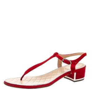 Chanel Red Suede T Strap Thong Sandals Size 38.5