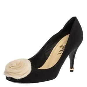 Chanel Black Canvas Camellia Cap Toe Pumps Size 39