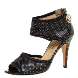 Chanel Black Leather Metallic Polka Dot Peep Toe Sandals Size 36
