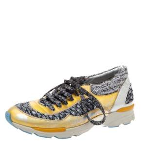 Chanel Grey/Gold Tweed and Patent Leather Lace Sneakers Size 38.5