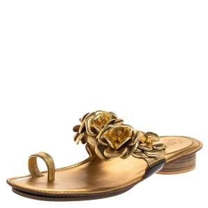 Chanel Metallic Gold Leather Flower Detail Toe Ring Flats Size 40