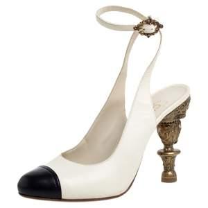 Chanel Cream/Black Leather Cap Toe Slingback Sandals Size 38.5