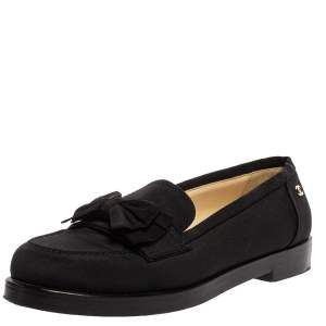 Chanel Black Canvas CC Bow Slip On Loafers Size 39.5