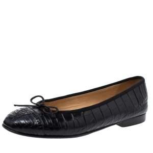 Chanel Black Crocodile CC Bow Cap Toe Ballet Flats Size 38.5