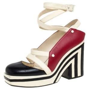 Chanel  Tri Color Leather Ankle Wrap Square Toe Platform Sandal Size 38