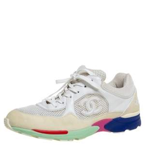 Chanel Multicolor Mesh, Suede and Leather CC Sneakers Size 42